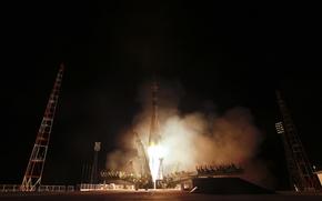 foguete, começo, URSS, Rússia, Casa, área, Spaceport, Baikonur, Cazaquistão