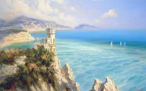 Alexander Milyukov, Nido di rondine, castello, mare, SPAZIO, vela, Montagne, Rocce, Crimea, Russia, paesaggio, bellezza
