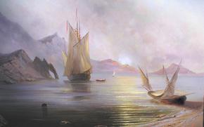 Милюков, Александр, Рассвет на море, пейзаж, солнце, рассвет, Крым, Россия, море, корабль, лодки, парус, горы, красота