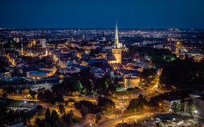 Tallinn, Estonia, città, notte