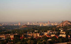 Novorossia, Donetsk, Donbass, city, panorama, twilight