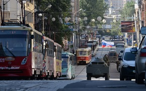 Novorossia, Donieck, Donbass, miasto, Tramwaj, ulica, flaga, BTR, Zbiornik