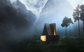 evening, Mountains, fog, haze, cabin, window, fire, man, umbrella, romance