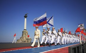 Russia, Crimea, Sevastopol, monument, Scuttled Ships, flag, Navy, fleet, army, Parade, men, sky, Black, sea