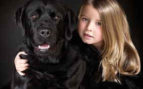 девочка, собака, Лабрадор-ретривер, друзья, дружба