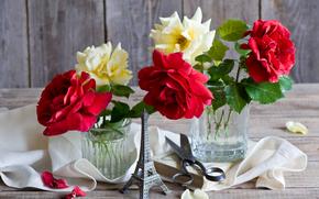 Roses, Eiffel Tower, souvenir, scissors, book, napkin, Petals, still life