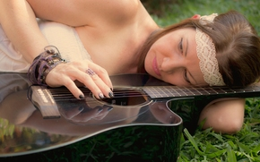 girl, guitar, mood