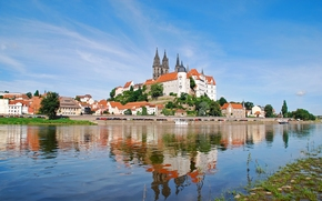 Meissen, Saxony, Germany, Elbe River, Albrechtsburg castle, Meissen Cathedral, Meissen, Saxony, Germany, Elbe River, Castle Albrechtsburg, Meissen Cathedral, castle, fortress, home, river, reflection