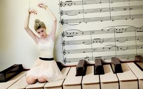 girl, ballerina, piano, Keys, music