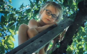 menina, óculos, árvore, escada, humor