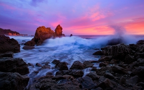 Corona del Mar, California, Pacific Ocean, Корона Дель Мар, Калифорния, Тихий океан, океан, скалы, камни, закат, волны