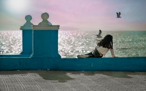Matalascanas, Andalusia, Spain, Gulf of Cadiz, Маталасканьяс, Андалусия, Испания, Кадисский залив, девочка, набережная, океан, чайки, птицы