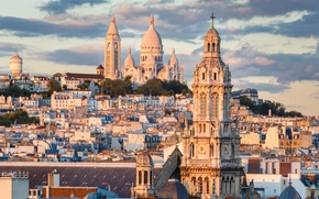 Paris, France, Montmartre, Sacre-Coeur Basilica, Paris, France, Montmartre, Sacred Heart Basilica, building, home, panorama