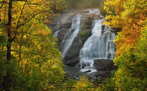 High Falls, DuPont State Forest, North Carolina, Северная Каролина, водопад, осень, лес, деревья