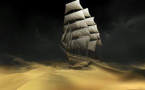 песок, корабль, пустыня