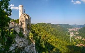 Lichtenstein Castle, Württemberg, Baden-Württemberg, Germany, Castle Lichtenstein, Wurttemberg, Baden-Wuerttemberg, Germany, castle, rock, Mountains, valley, panorama