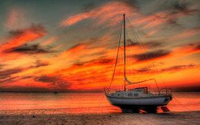 jacht, morze, zachód słońca
