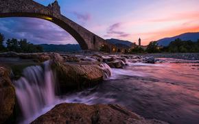 Trebbia River, Bobbio, Humpback bridge, Italy, Ponte Gobbo, Gobbo Bridge, River Trebbia, Italtya, bridge, river, stones