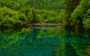 Jiuzhaigou, Sichuan, China, Jiuzhaigou, Sichuan, China, reserve, lake, bridge, forest, reflection