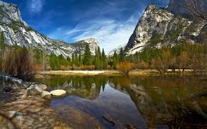 Mirror Lake, Parque Nacional de Yosemite, California, Sierra Nevada, Parque Nacional de Yosemite, Yosemite, California, Sierra Nevada, lago, Montañas, bosque, árboles, reflexión