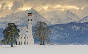 Sankt Coloman, Schwangau, Bavaria, Germany, Alps, Church of the Holy Kalman, Schwangau, Bayern, Germany, Alps, church, Mountains, trees, winter