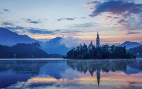Lago di Bled, Slovenia, Lago di Bled, Slovenia, Chiesa Mariinsky, Montagne, isola, lago, chiesa, riflessione