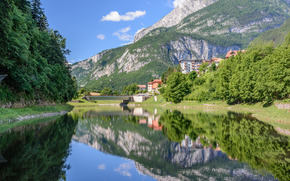 Lago Molveno, Trentino, Italia, Dolomitas, Lago Molveno, Trento, Italia, Dolomitas, Montañas, lago, reflexión, puente, bosque