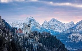 Neuschwanstein Castle, Bavaria, Germany, Замок Нойшванштайн, Бавария, Германия, замок, горы, зима, панорама