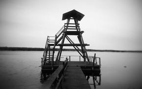 黒, 湖, 白, 暗い, 独り