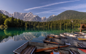 Laghi di Fusin, Fusine Lakes, Tarvisio, Italy, Alps, Lake Fuzine, Tarvisio, Italy, Alps, lake, Mountains, reflection, forest, Boat