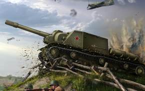 fight, SAU, ISU-152, aircraft, World of Tanks Generals