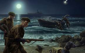 soldiers, night, landing, Sea shore, moon, World of Tanks Generals
