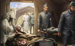 soldiers, Wounded, Infirmary, nurse, Stretcher, World of Tanks Generals