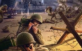 soldados, luchar, batalla, aterrizaje, Cabeza de puente, Los operadores de radio, enviar, World of Tanks Generals