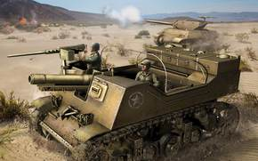 SAU, USA, tank, soldiers, desert, shot, World of Tanks Generals