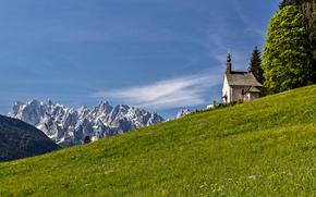 Alpi, Austria, Alpi, Austria, Montagne, cappella, prato
