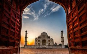 Taj Mahal, Agra, India, Тадж-Махал, Агра, Индия, мавзолей, мечеть, рассвет