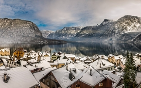 Hallstatt, Austria, Lake Hallstatt, Alps, Hallstatt, Austria, Lake Hallstatt, Alps, lake, Mountains, home, Roof, winter, panorama