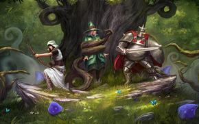Trine_2, forest attack, archer, mage, knight, monster, magick, art