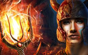 arte, tridente, squad menina mutante, fogo, Filha de Netuno, capacete, mar