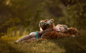 girl, toy, tiger, mood