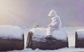 мальчик, белка, зима, снег