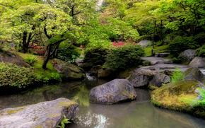 парк, деревья, речка, камни, пейзаж, Japanese Garden