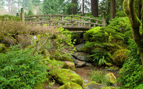Japenese Gardens, лес, деревья, парк, речка, мост, камни, пейзаж
