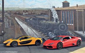 стена, рисунок, Lamborghini Huracan, поезд, McLaren P1, паровоз