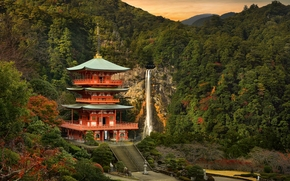 Seiganto-ji temple, Sanjūdō Pagoda, Nachi Falls, Nachikatsuura, japan, Seyganto-ji Temple, Nachi Falls, Natikatsuura, Japan, temple, pagoda, waterfall, Mountains, forest
