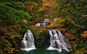Akame 48 Waterfalls, Akame Shijuhachi-taki, Nabari, Mie Prefecture, Japan, Набари, Япония, водопады, каскад, лес, деревья, осень