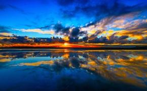 Kuku Beach, Cook Strait, Manakau, New Zealand, Cook Strait, Manakau, New Zealand, sea, sunset, clouds, reflection