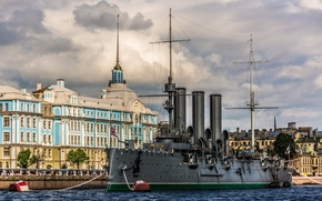 petersburg, The cruiser Aurora, cruiser, Aurora, Nakhimov Naval School, Petrogradskaya Embankment, Big Nevka, river, embankment, museum, building