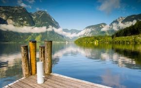 Lake Hallstatt, Winkl, Alps, Austria, Lake Hallstatt, Alps, Austria, lake, Mountains, wharf, water, clouds